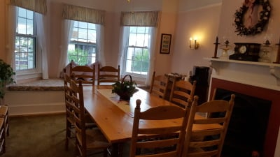 In the Victoria Guest House Dining Room: Enjoy breakfast in the morning, make a late night cup of coffee, or crawl up on the window seat to read a book.